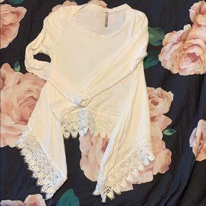 White lace semi crop top